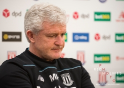 Mark Hughes gives his views prior to the Stoke City vs Tottenham Hotspur game at the Stoke City manager press conference. Britannia Stadium, 14/04/16.