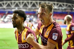 Anthony McMahon celebrates for Bradford City, against Wigan Athletic. 11th November 2017.